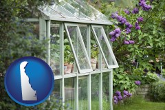 delaware map icon and a garden greenhouse